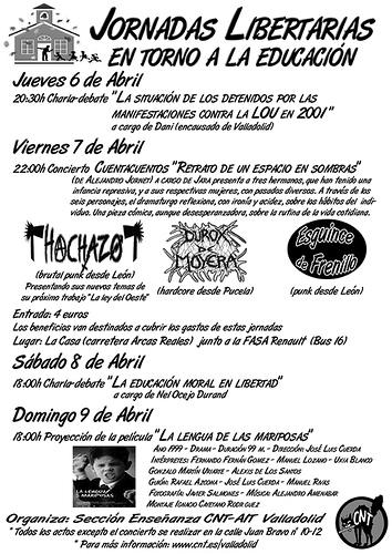 Jornadas Libertarias en torno a la educacion CNT-AIT Valladolid sec. Estudiantes