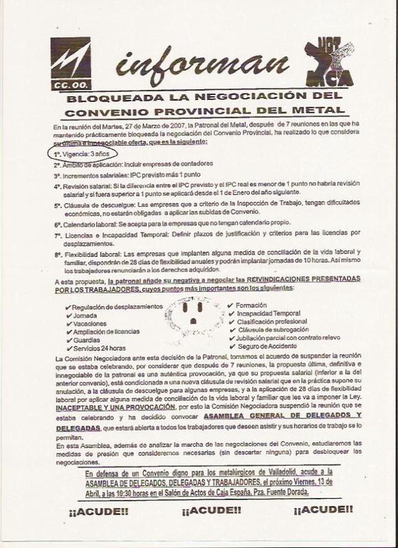 Convocatoria UGT y CCOO